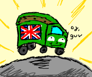 apparently a British garbage truck