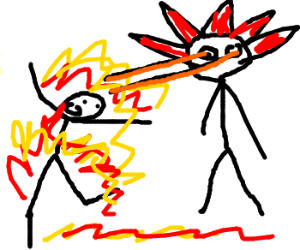 Steampunk watches man on fire.