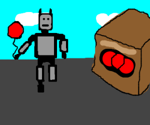 robot is missing shoe; holds red balloon