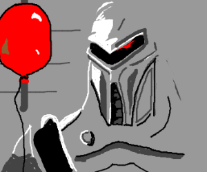 Cylon unenthusiastically holds a balloon