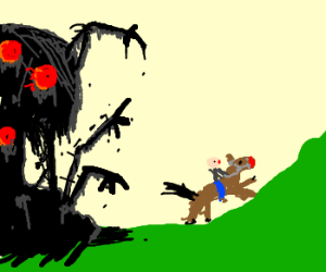 demon chasing rednosed horse and rider