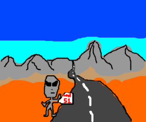 Grey alien plans to go to the Area 51.
