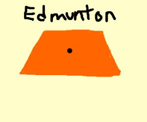 """Orange trapezoid with a dot """"Edmunton"""""""