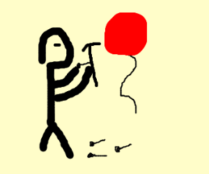 Man tries to nail a balloon to the wall