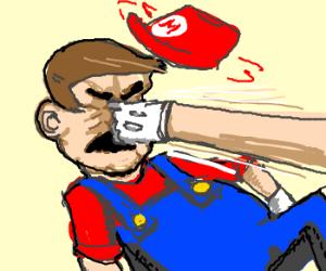 Poking Mario in the nose