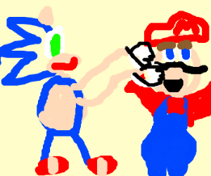 Sonic punches Mario in the face.