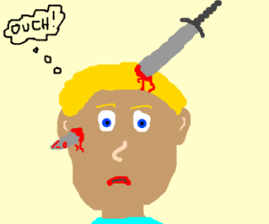 stabbed through the head