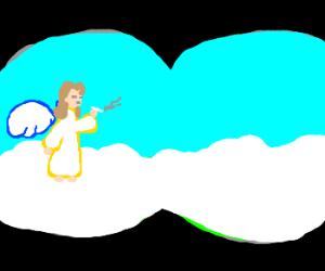 Lady observes angel via binoculars