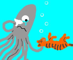 One eyebrowed squid mourns over dead cat