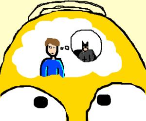guy in homer simpsons head thinks batman