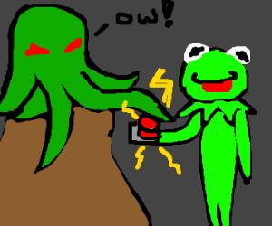 Kermit shocks Cthulu