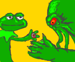 Kermit with buzzer shakes Cthulu's hand