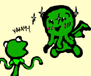 Kermit's joke make kawaii chtuluh laugh