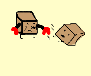Face scarred; a box knocks out his enemy