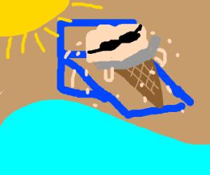 Ice cream sun bathing