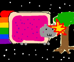 Nyan Cat runs into space tree