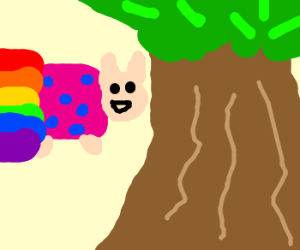 Nyan cat hits tree (Missing light blue)
