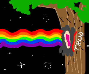 Nyan cat crashed into a tree
