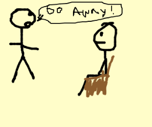 man tells seated person to go away