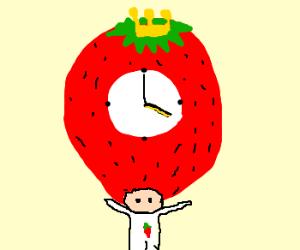 King Strawberry Clock Says 4:00