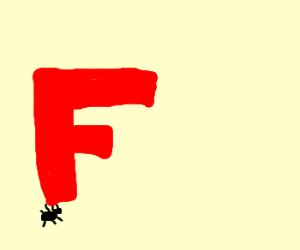 Ant hoisting up the letter F.