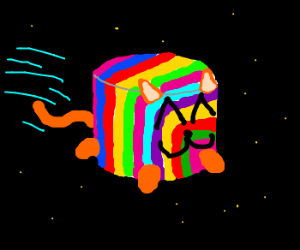 Rainbow cat marshmallow flies in space