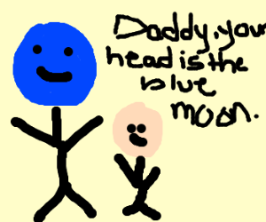Son thinks dad's head is blue moon