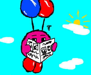 Kirby Using Balloons to Fly