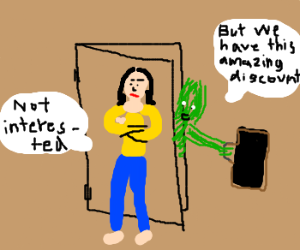 girl doesnt care about green strawman