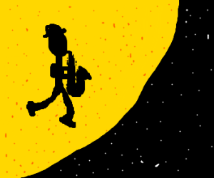 Silhoutte plays sax in space
