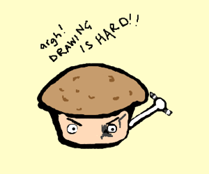Trouble Muffin draws eyepatch on eye
