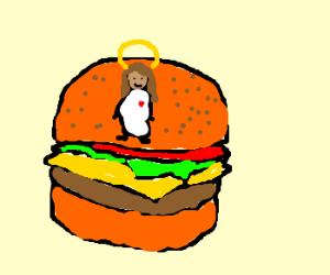 jesus on a burger
