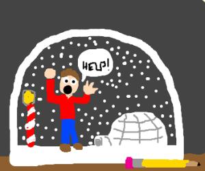 stucking inside a snowglobe