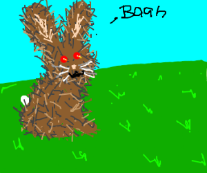 evil red eyed bunny says baah