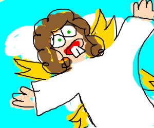 Creepy angel flies in the sky