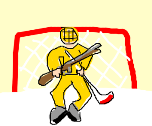 Hockey player holding a rifle