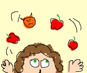 Man juggles evil orange and apples