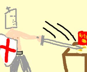 Topless crusader slicing cracker in half