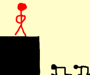 Red stick figure showing his dominance.