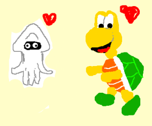 Koopa and Mario squid fall in love.