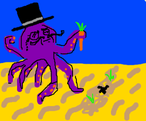 Purple Octopus Plants Veggies Like a Sir