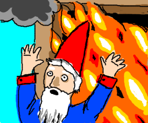 Gnome barely escapes burning home