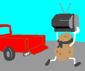 Potato Bandit Steals TV from Pickup Truk