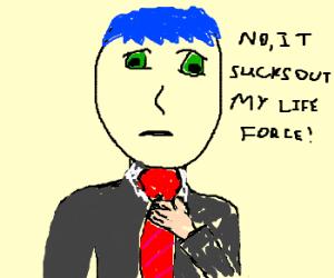 Anime man think tie sucks
