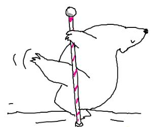 Polar she bear does dance on north pole