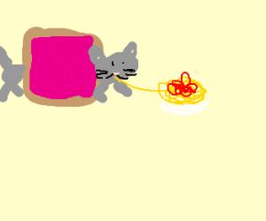 Nyancat Eats Spaghetti Sauronara
