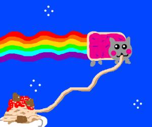 Nyan Cat Eats Spaghetti Bolognese