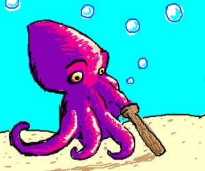 Octopus with a peg leg