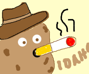 Cowboy spud has a smoke break