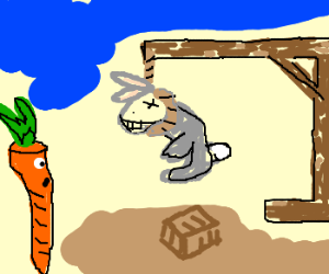 Rabbit is hanged while carrot watches